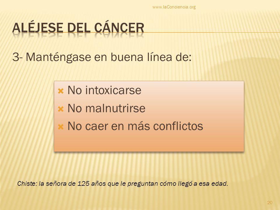 Aléjese del cáncer 3- Manténgase en buena línea de: No intoxicarse