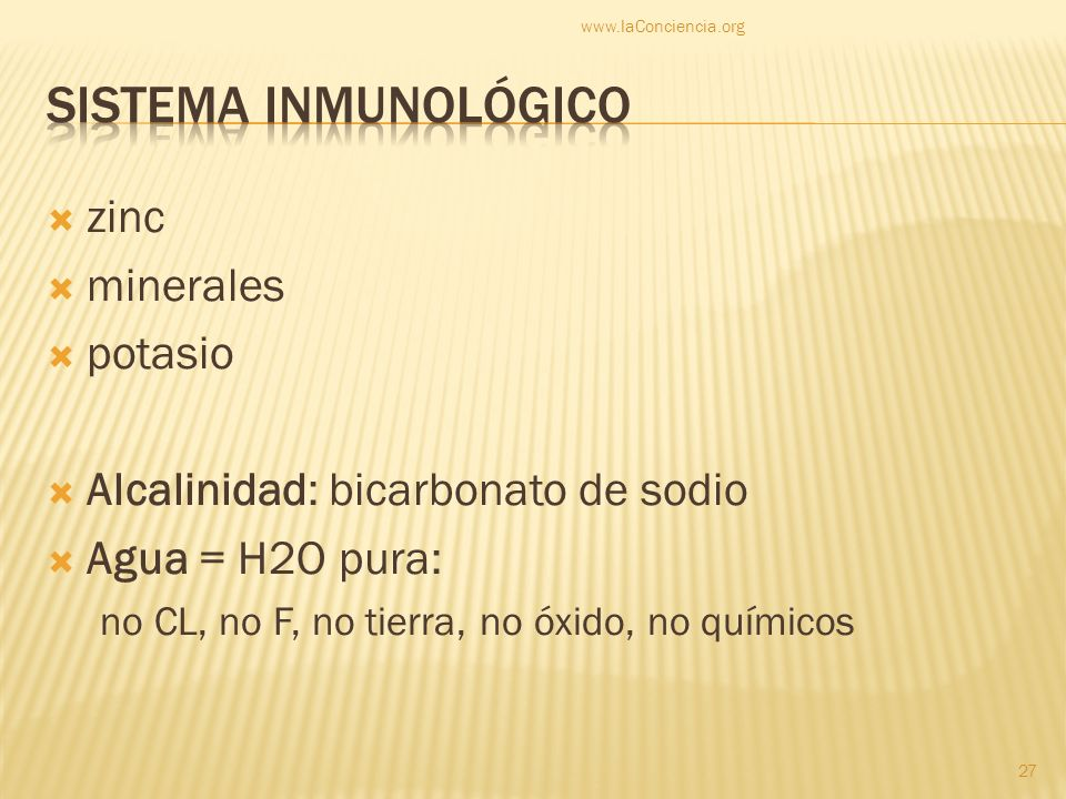 Sistema inmunológico zinc minerales potasio