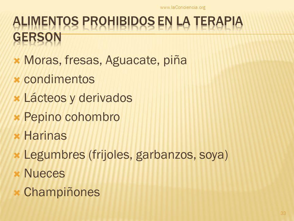 Alimentos Prohibidos en la terapia gerson