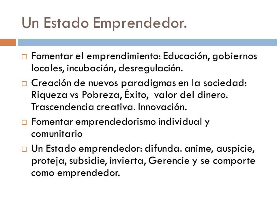Un Estado Emprendedor. Fomentar el emprendimiento: Educación, gobiernos locales, incubación, desregulación.