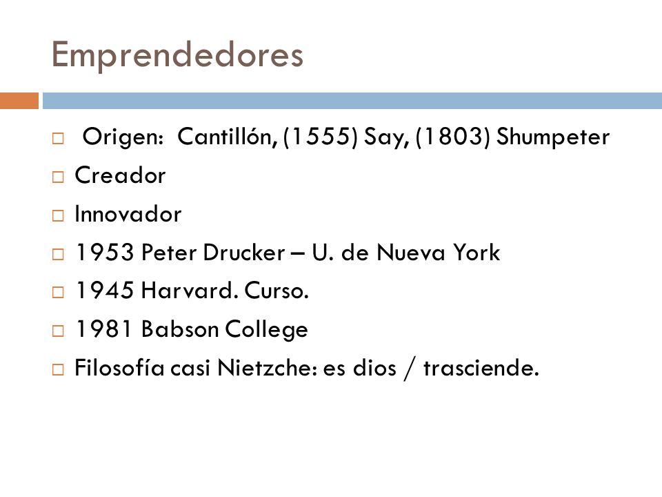 Emprendedores Origen: Cantillón, (1555) Say, (1803) Shumpeter Creador