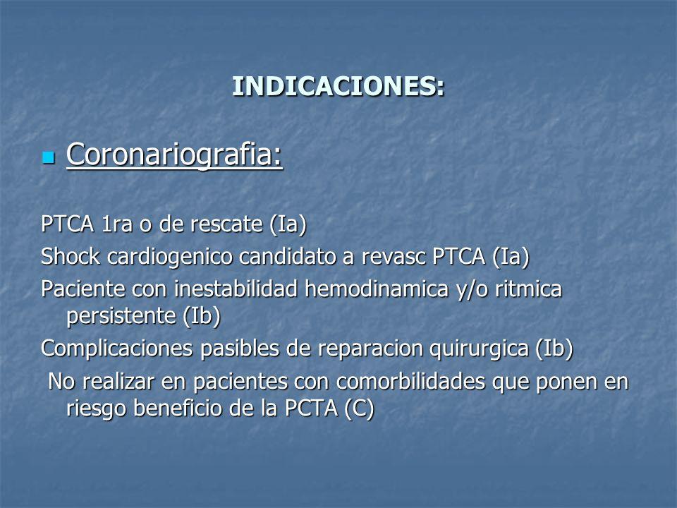 Coronariografia: INDICACIONES: PTCA 1ra o de rescate (Ia)