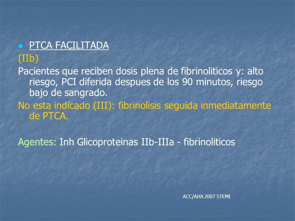 No esta indicado (III): fibrinolisis seguida inmediatamente de PTCA.