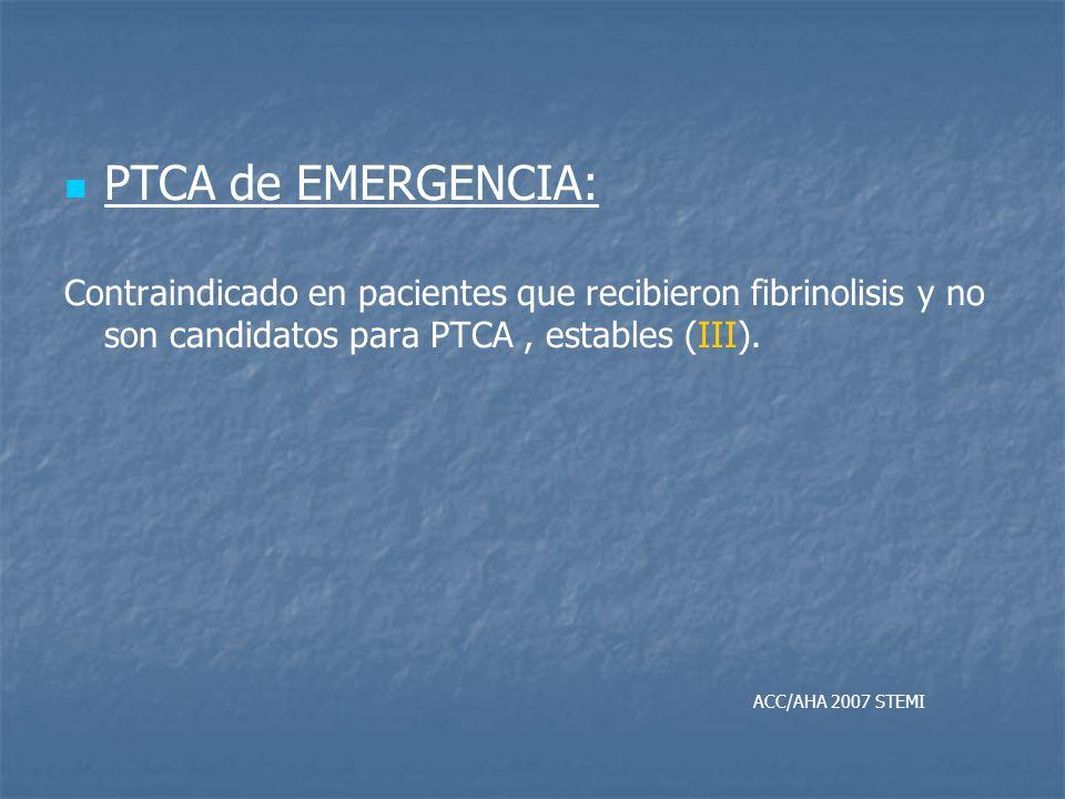 PTCA de EMERGENCIA: Contraindicado en pacientes que recibieron fibrinolisis y no son candidatos para PTCA , estables (III).