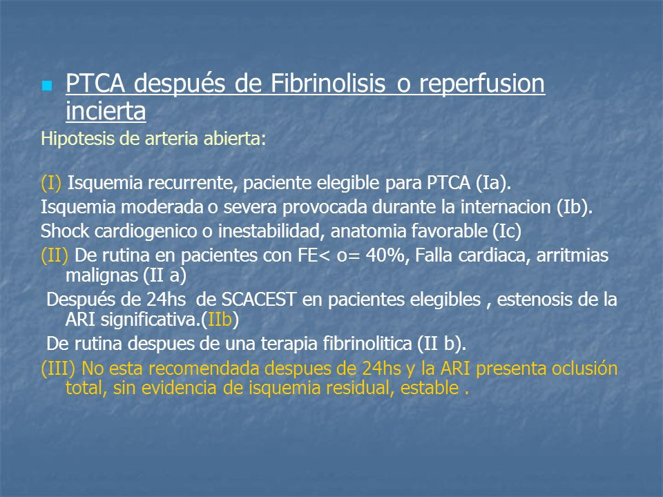 PTCA después de Fibrinolisis o reperfusion incierta
