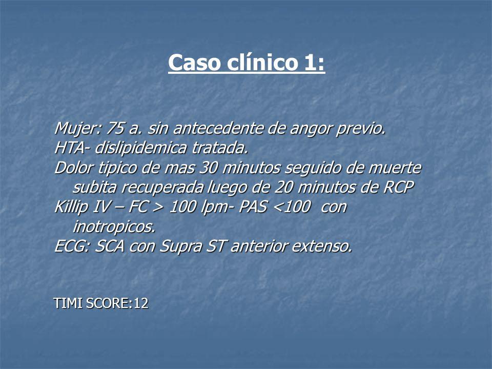Caso clínico 1: Mujer: 75 a. sin antecedente de angor previo.