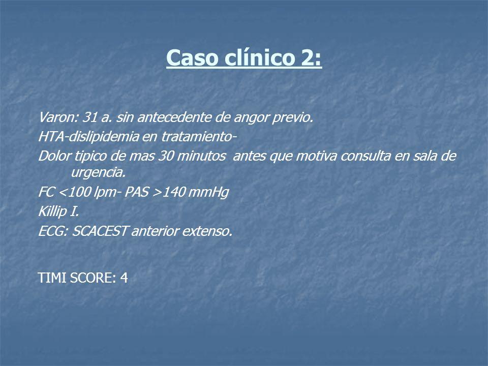 Caso clínico 2: Varon: 31 a. sin antecedente de angor previo.