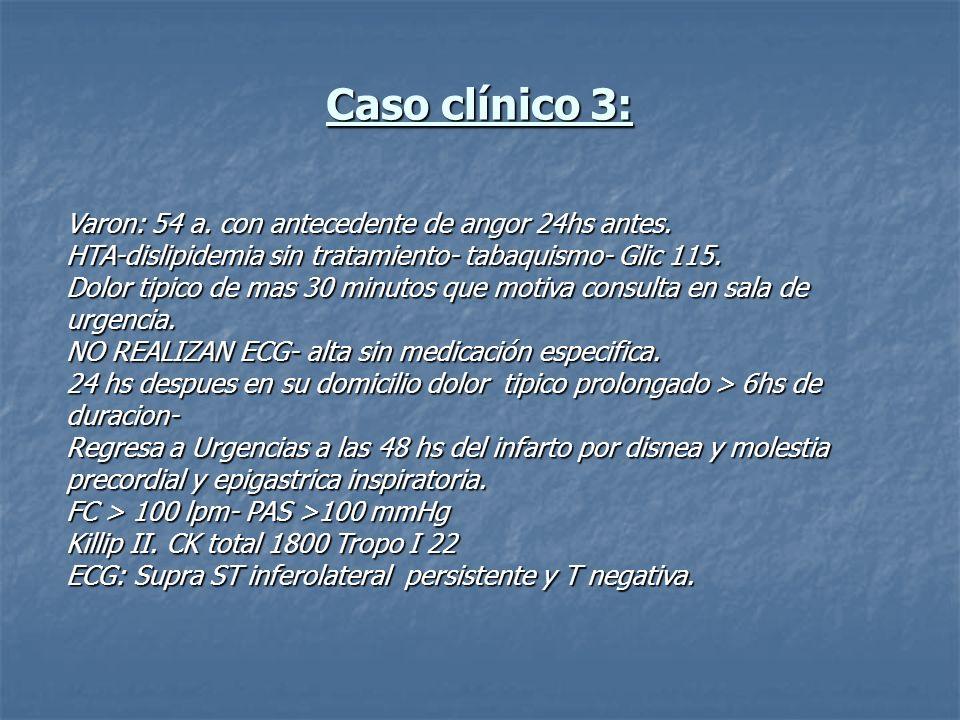 Caso clínico 3: Varon: 54 a. con antecedente de angor 24hs antes.