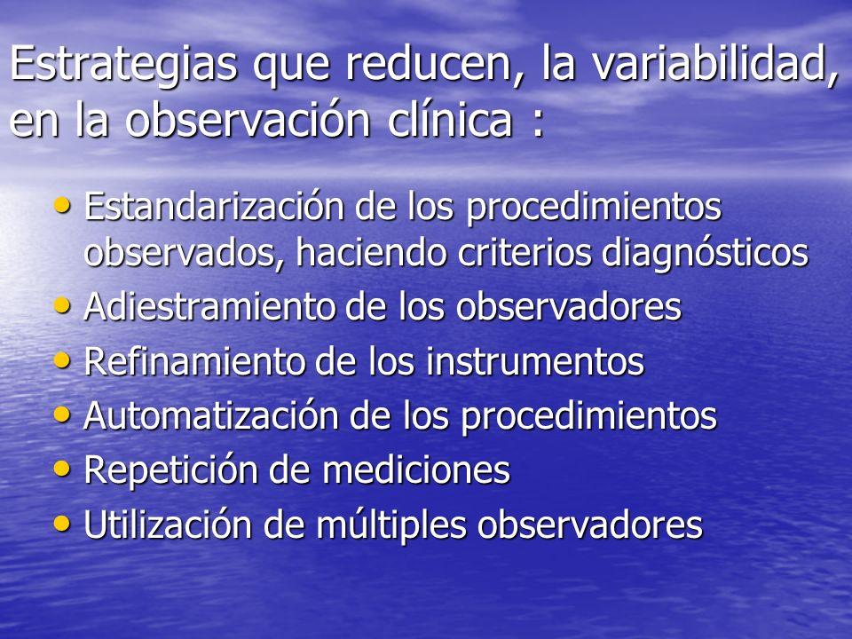 Estrategias que reducen, la variabilidad, en la observación clínica :