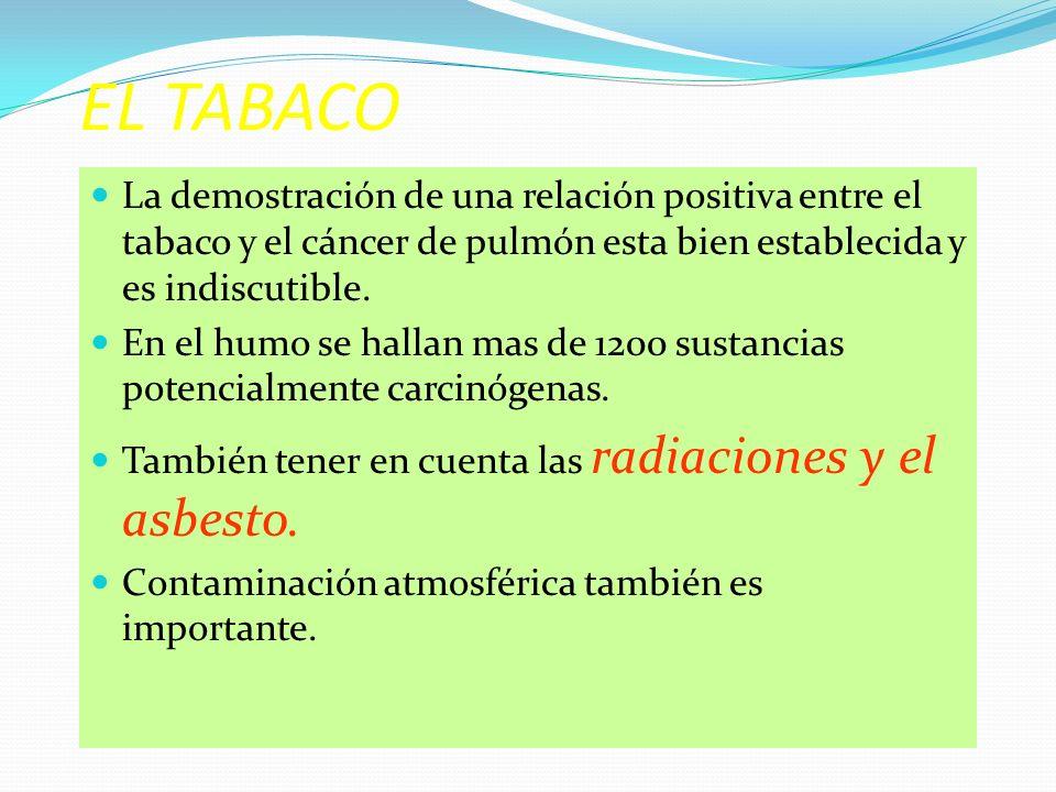 EL TABACO La demostración de una relación positiva entre el tabaco y el cáncer de pulmón esta bien establecida y es indiscutible.