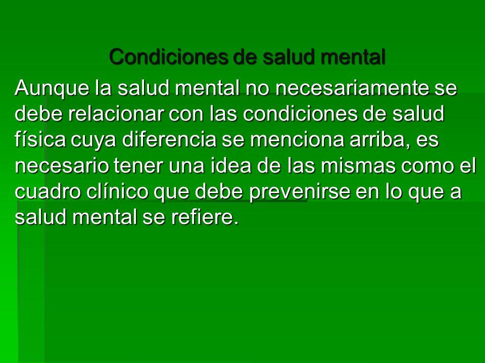 Condiciones de salud mental
