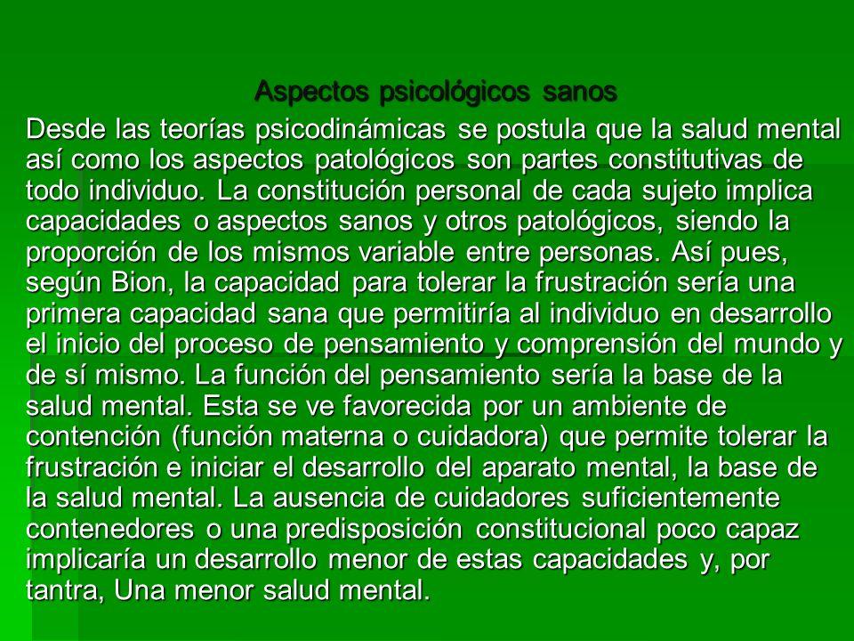 Aspectos psicológicos sanos