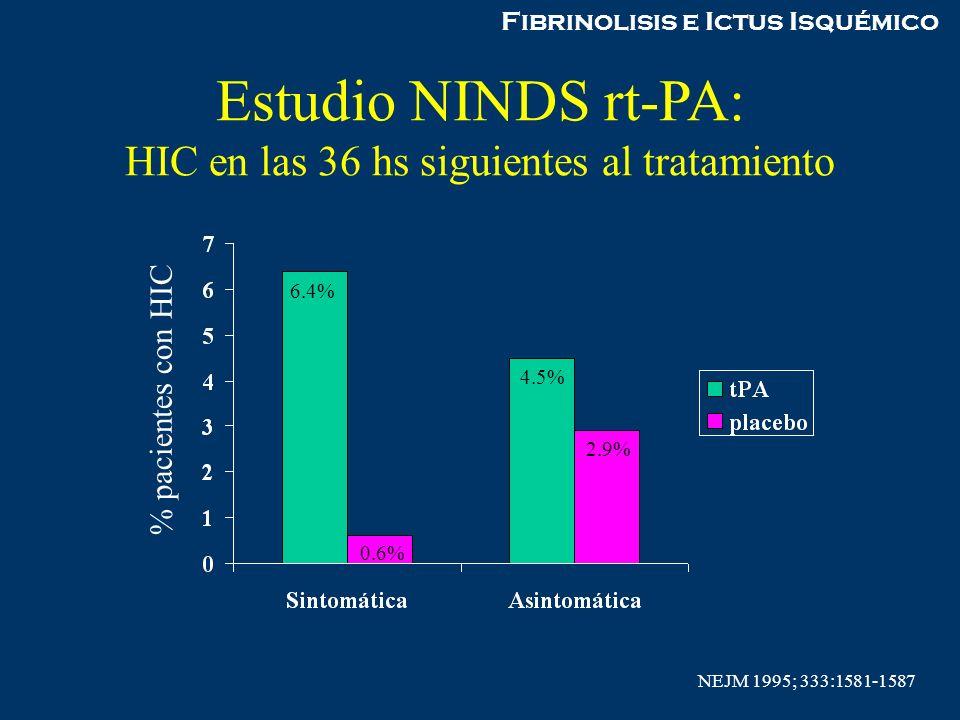 Estudio NINDS rt-PA: HIC en las 36 hs siguientes al tratamiento
