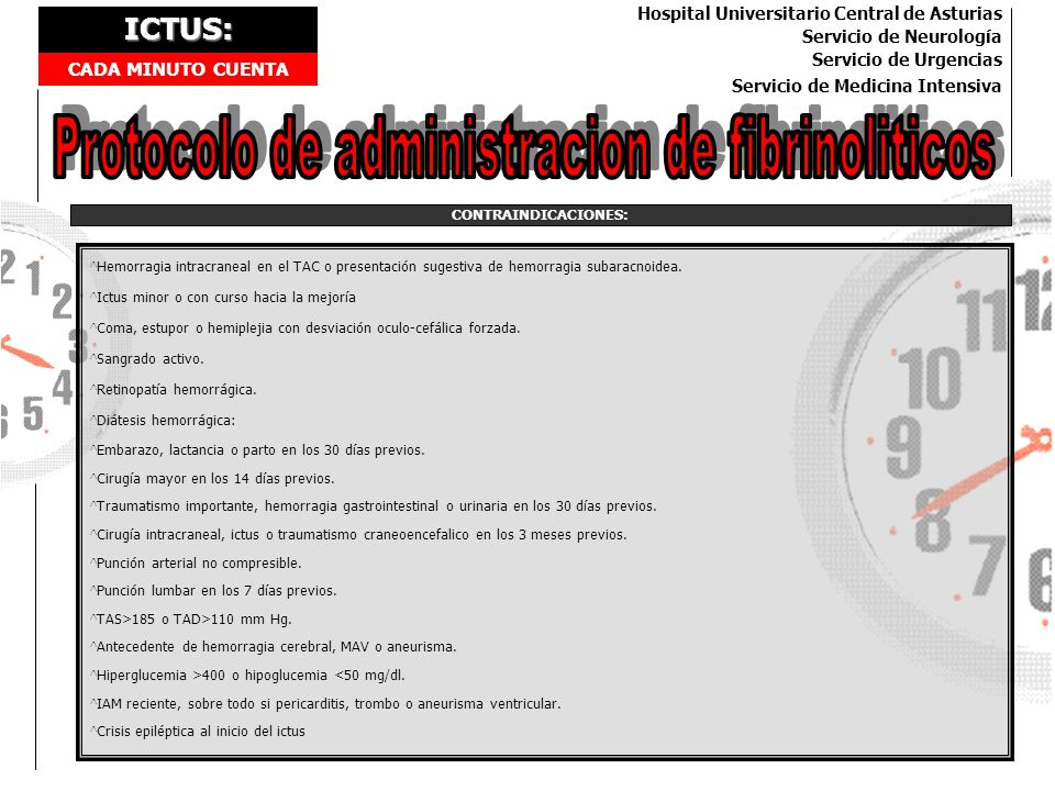 Protocolo de administracion de fibrinoliticos