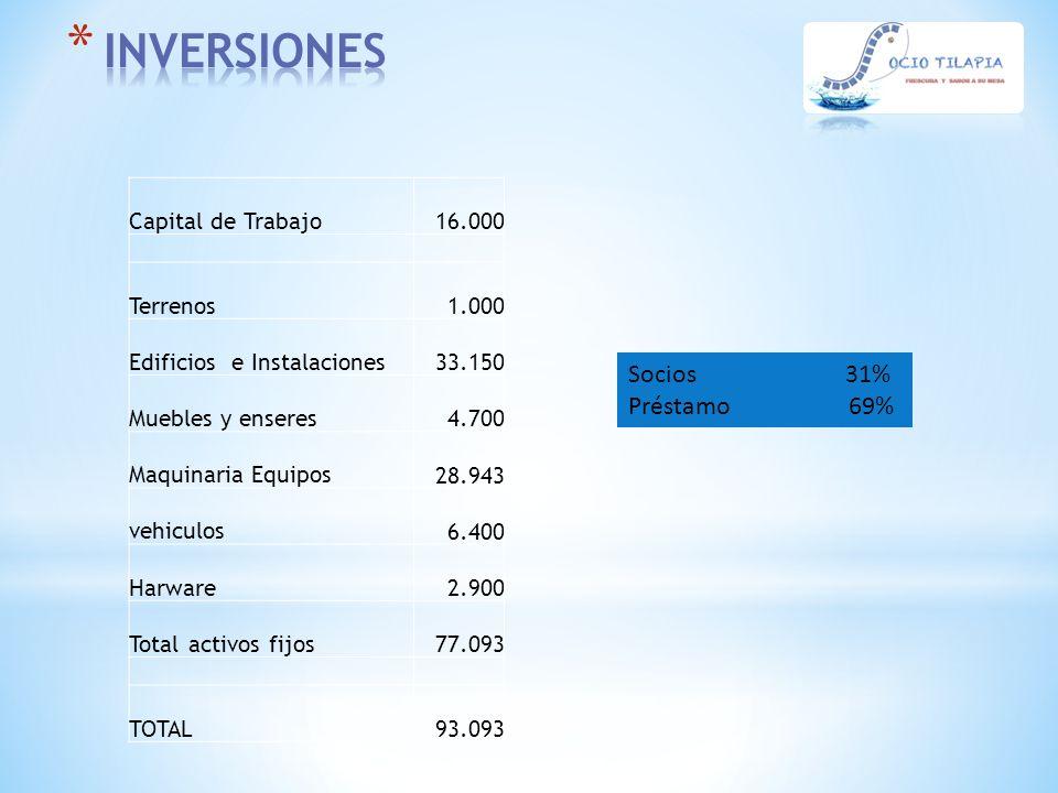 INVERSIONES Socios 31% Préstamo 69% 16.000 Capital de Trabajo 1.000