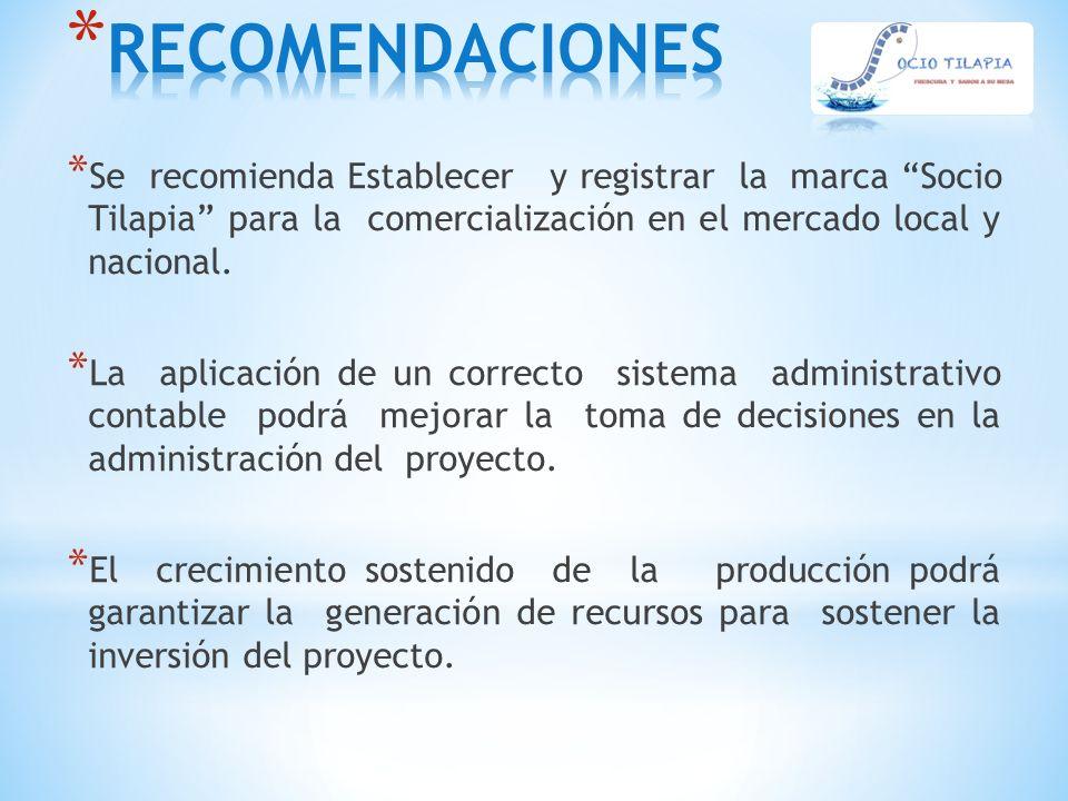 RECOMENDACIONES Se recomienda Establecer y registrar la marca Socio Tilapia para la comercialización en el mercado local y nacional.