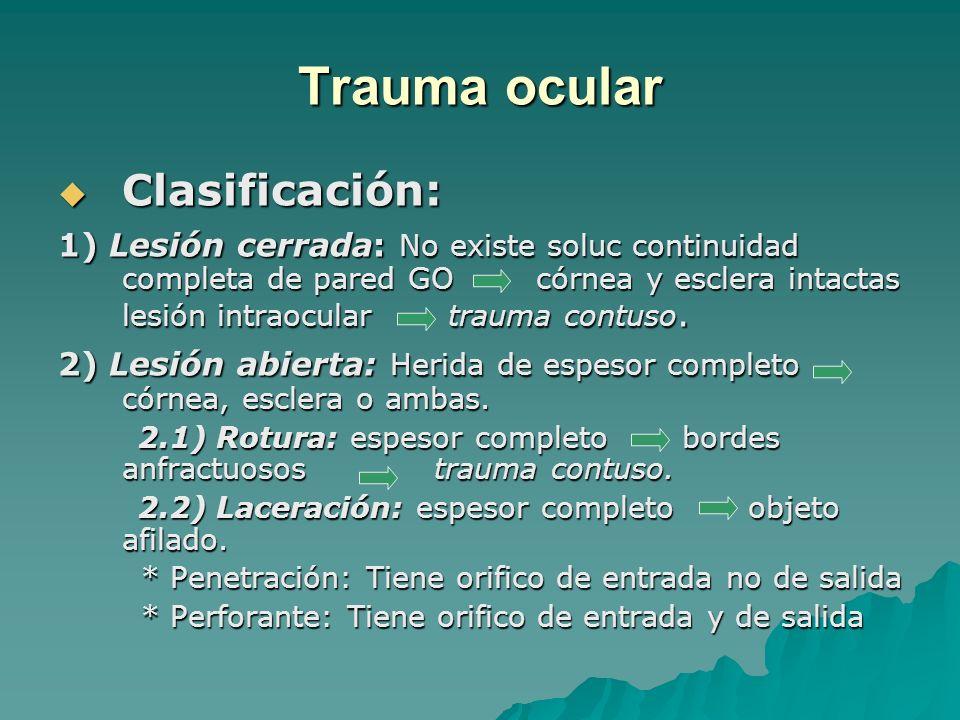 Trauma ocular Clasificación: