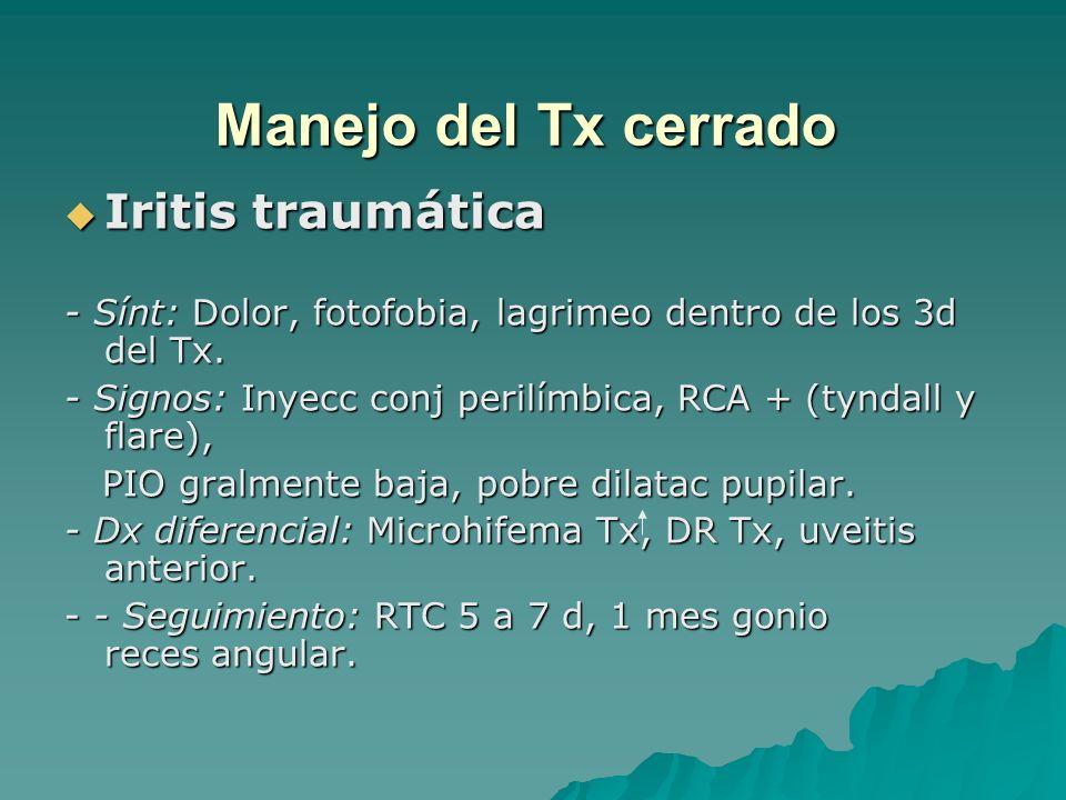 Manejo del Tx cerrado Iritis traumática
