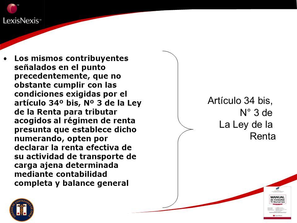 Artículo 34 bis, N° 3 de La Ley de la Renta