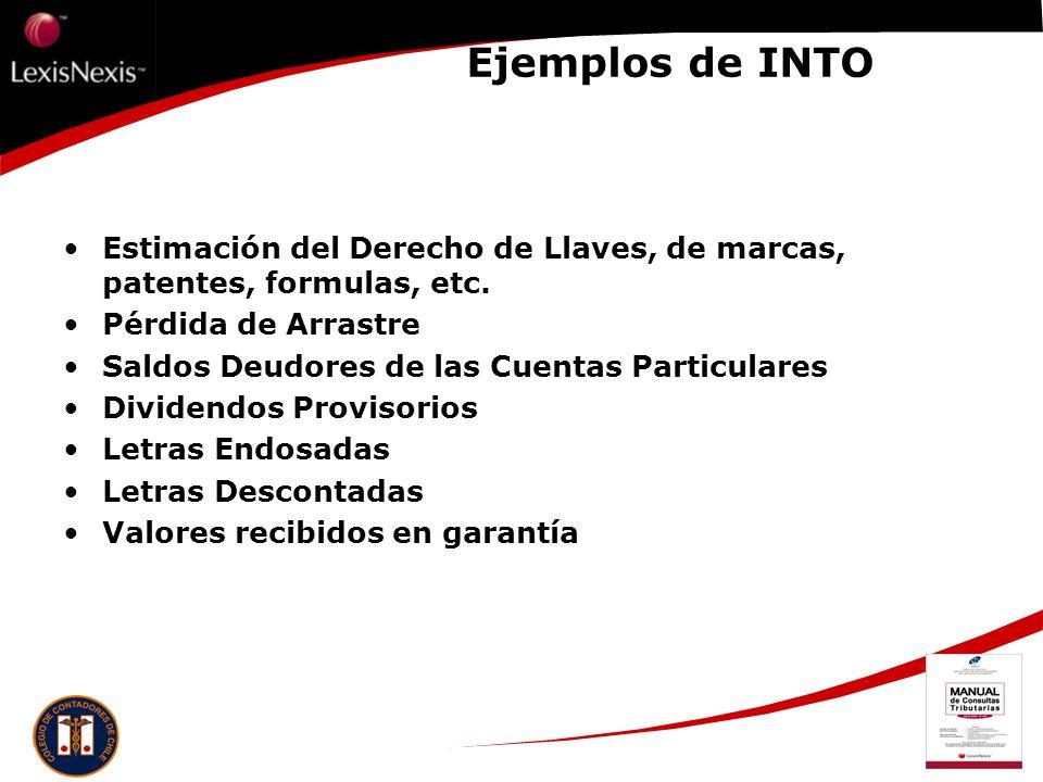 Ejemplos de INTO Estimación del Derecho de Llaves, de marcas, patentes, formulas, etc. Pérdida de Arrastre.