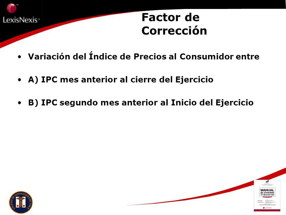 Factor de Corrección Variación del Índice de Precios al Consumidor entre. A) IPC mes anterior al cierre del Ejercicio.