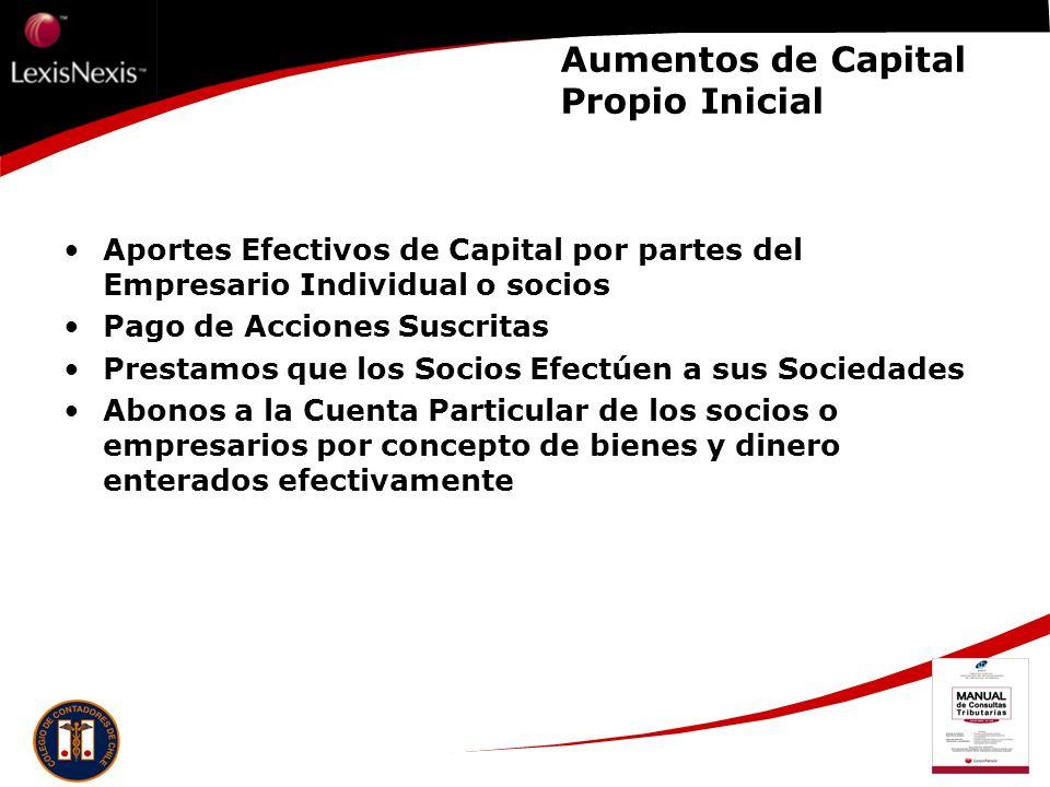 Aumentos de Capital Propio Inicial
