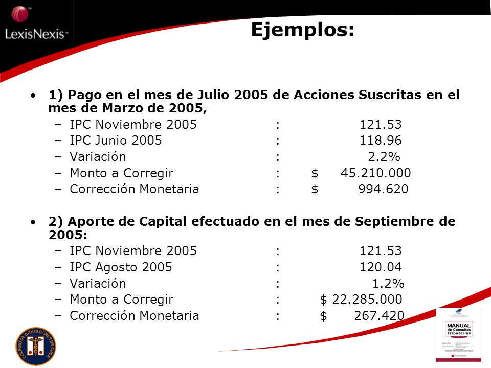 Ejemplos: 1) Pago en el mes de Julio 2005 de Acciones Suscritas en el mes de Marzo de 2005, IPC Noviembre 2005 : 121.53.