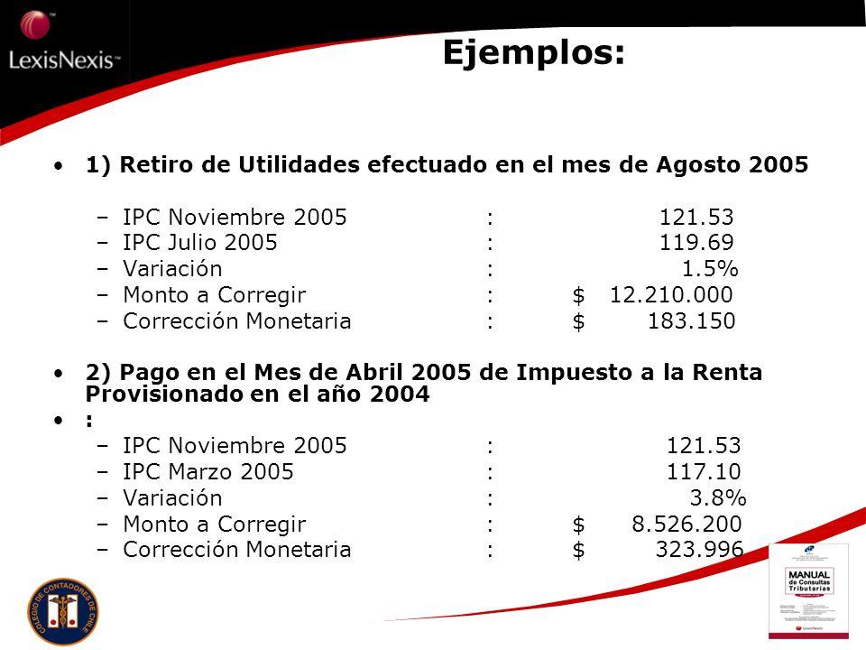Ejemplos: 1) Retiro de Utilidades efectuado en el mes de Agosto 2005