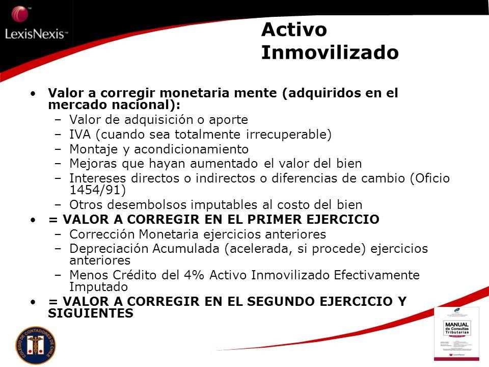 Activo Inmovilizado Valor a corregir monetaria mente (adquiridos en el mercado nacional): Valor de adquisición o aporte.