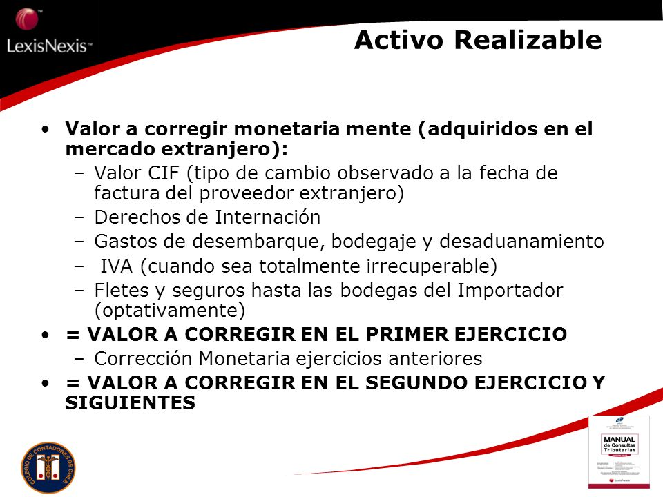 Activo Realizable Valor a corregir monetaria mente (adquiridos en el mercado extranjero):
