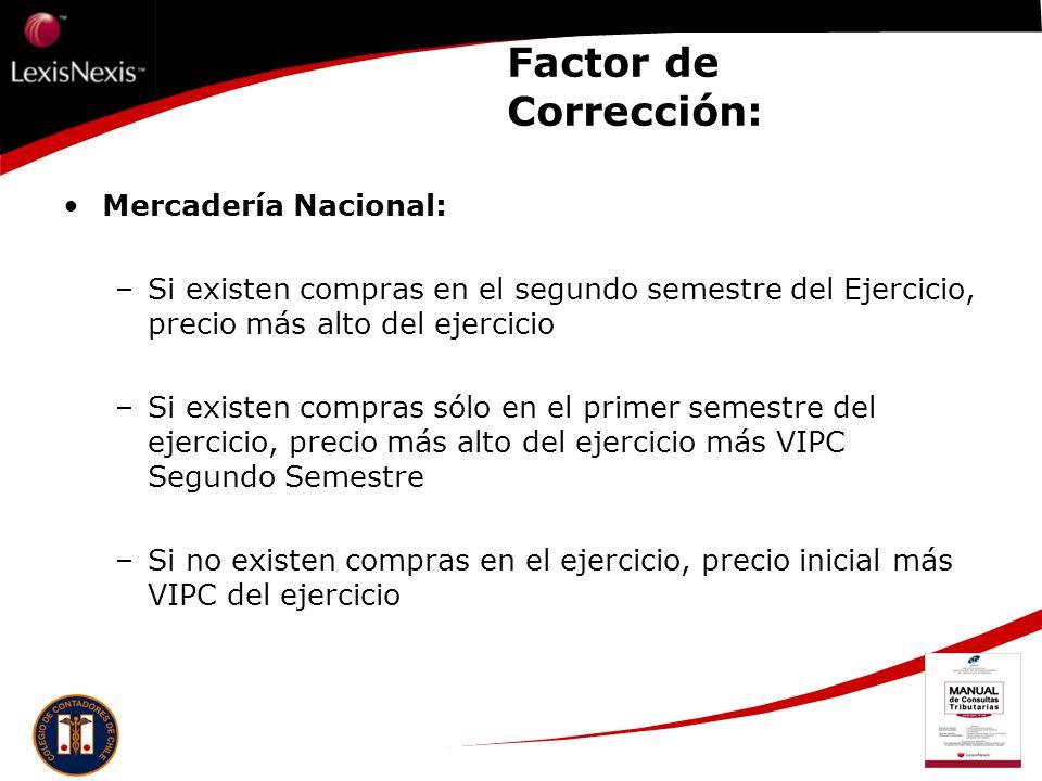 Factor de Corrección: Mercadería Nacional: