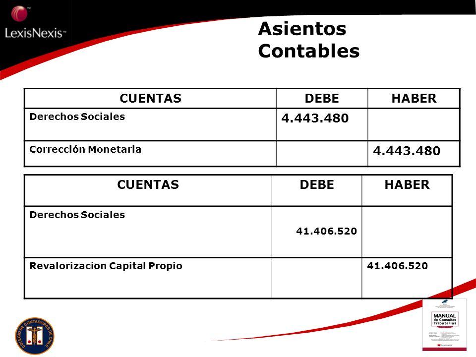 Asientos Contables CUENTAS DEBE HABER 4.443.480 CUENTAS DEBE HABER