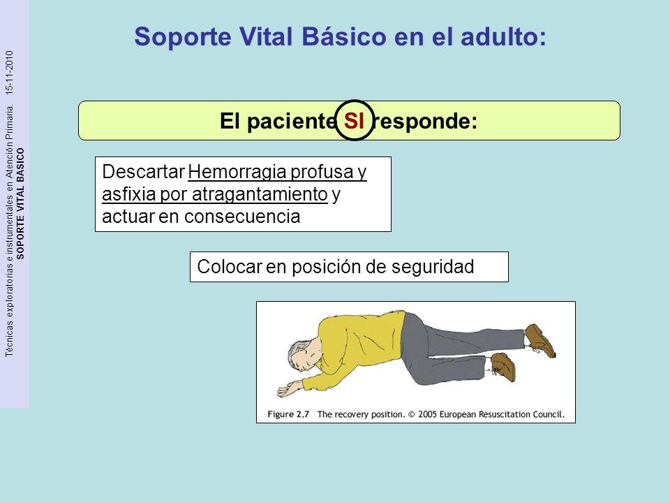 Soporte Vital Básico en el adulto: El paciente SI responde: