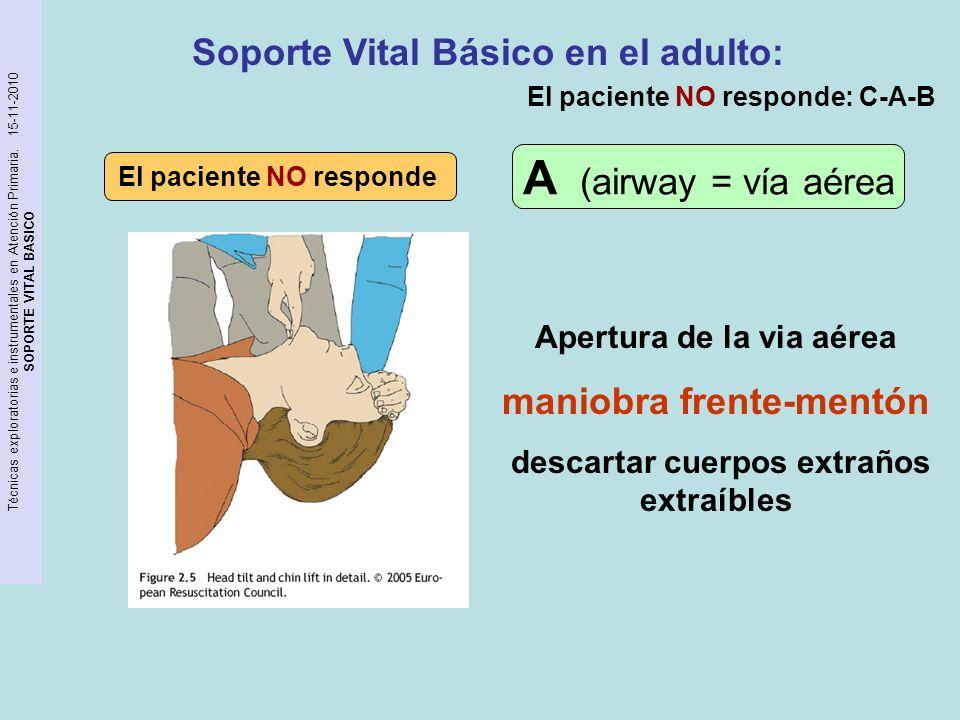 A (airway = vía aérea Soporte Vital Básico en el adulto: