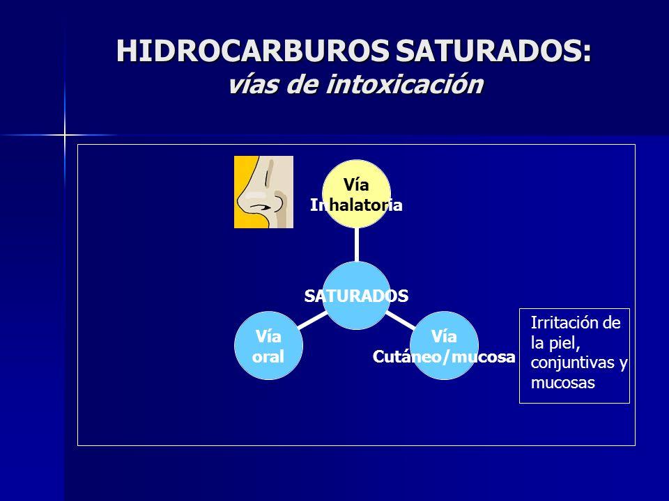 HIDROCARBUROS SATURADOS: vías de intoxicación