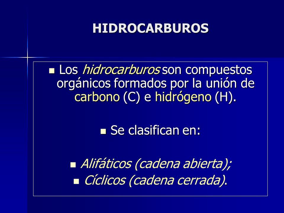 Alifáticos (cadena abierta); Cíclicos (cadena cerrada).