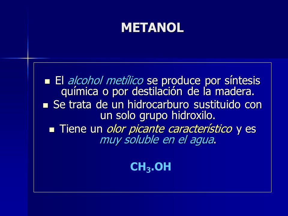 METANOL El alcohol metílico se produce por síntesis química o por destilación de la madera.
