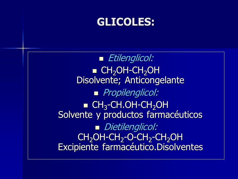 GLICOLES: Etilenglicol: CH2OH-CH2OH Disolvente; Anticongelante