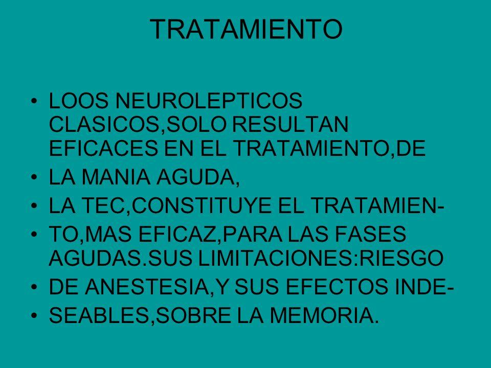 TRATAMIENTOLOOS NEUROLEPTICOS CLASICOS,SOLO RESULTAN EFICACES EN EL TRATAMIENTO,DE. LA MANIA AGUDA,