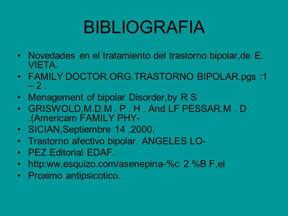 BIBLIOGRAFIA Novedades en el tratamiento del trastorno bipolar,de E. VIETA. FAMILY DOCTOR.ORG.TRASTORNO BIPOLAR.pgs :1 – 2 .