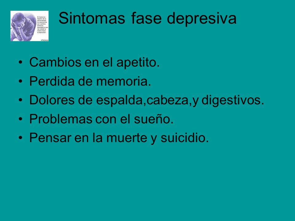 Sintomas fase depresiva