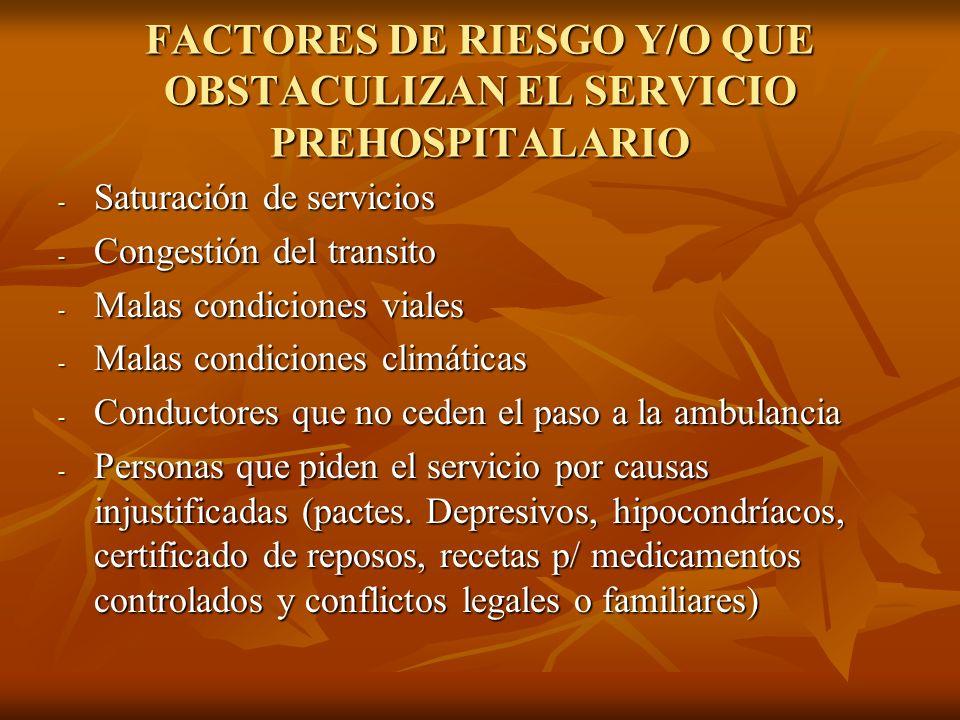 FACTORES DE RIESGO Y/O QUE OBSTACULIZAN EL SERVICIO PREHOSPITALARIO