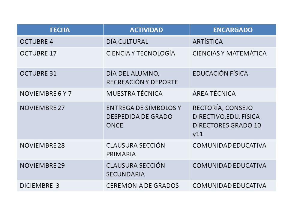 FECHA ACTIVIDAD. ENCARGADO. OCTUBRE 4. DÍA CULTURAL. ARTÍSTICA. OCTUBRE 17. CIENCIA Y TECNOLOGÍA.