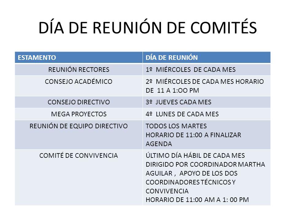 DÍA DE REUNIÓN DE COMITÉS