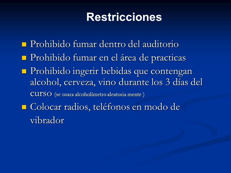 Restricciones Prohibido fumar dentro del auditorio