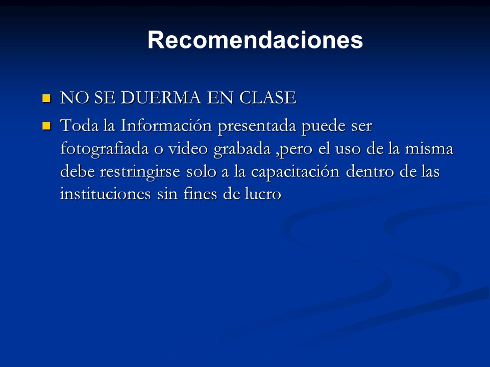 Recomendaciones NO SE DUERMA EN CLASE