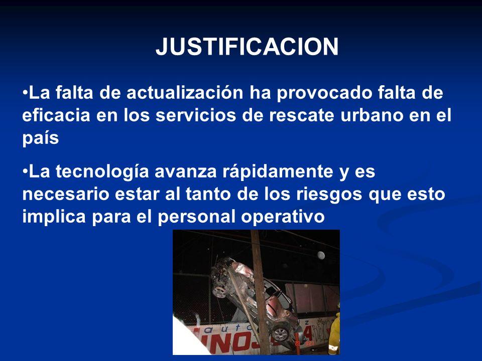 JUSTIFICACIONLa falta de actualización ha provocado falta de eficacia en los servicios de rescate urbano en el país.