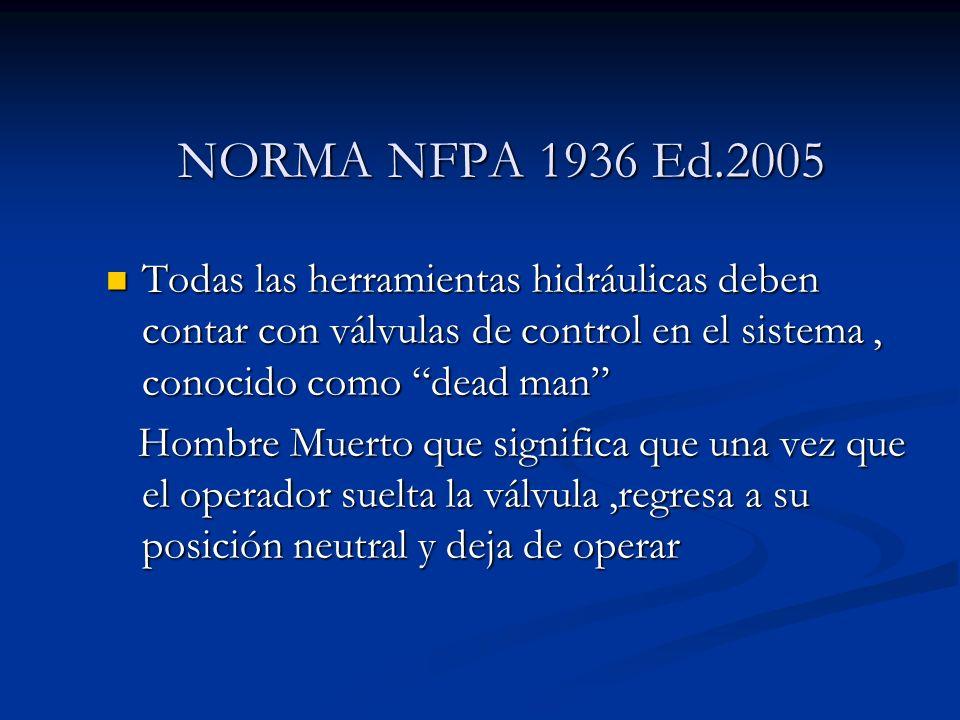 NORMA NFPA 1936 Ed.2005 Todas las herramientas hidráulicas deben contar con válvulas de control en el sistema , conocido como dead man