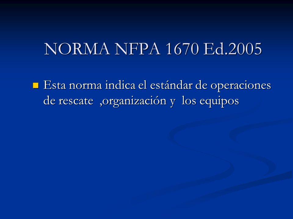 NORMA NFPA 1670 Ed.2005 Esta norma indica el estándar de operaciones de rescate ,organización y los equipos.