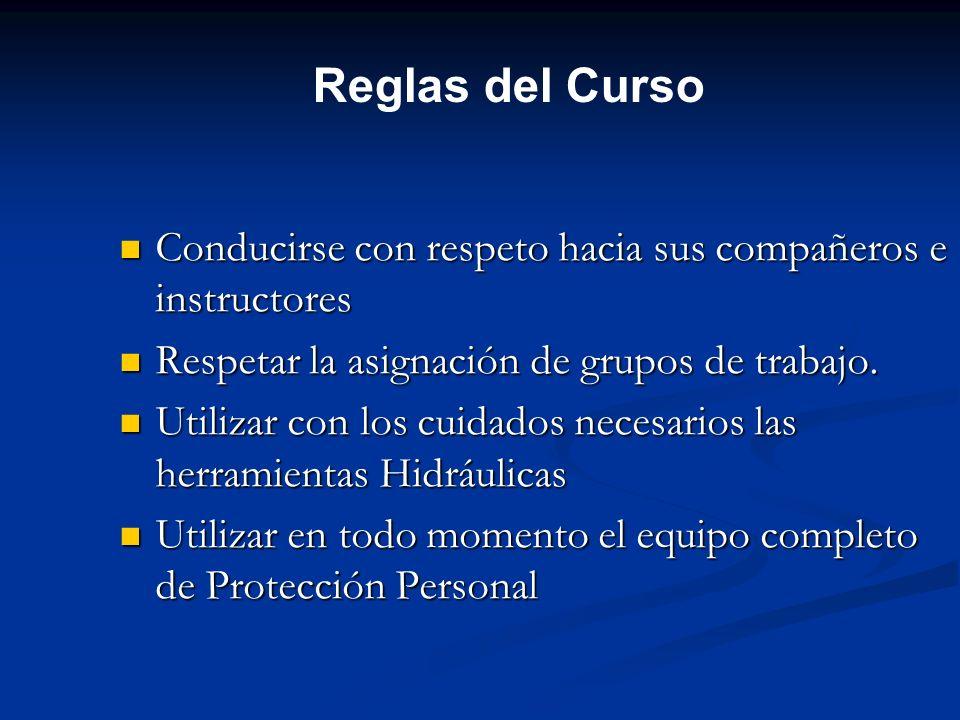 Reglas del CursoConducirse con respeto hacia sus compañeros e instructores. Respetar la asignación de grupos de trabajo.